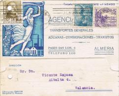 11358. Tarjeta Privada ALMERIA 1949. Aduanas Consigna. Recargo Victimas Guerra - 1931-Today: 2nd Rep - ... Juan Carlos I