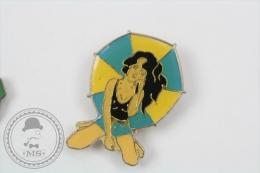 Pin Up Umbrella Girl - Pin Badge #PLS - Pin-ups