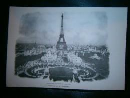 PLANCHE  EXPOSITION UNIVERSELLE PARIS 1900 PANORAMA VU DU TROCADERO   DIM  21  X 31 CM - Estampes & Gravures