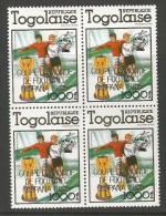 Togo - World Cup Spain 1982 Block Of 4 Surcharged  - Copa Del Mundo De Futbol España 82 - 1982 – Espagne