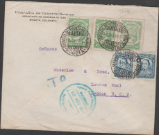 O) 1927 COLOMBIA, SCADTA 10 CENTAVOS, 4 CENTAVOS SANTANDER, TRANSITO FOR BARRANQUILLA TO LONDON, XF - Colombie