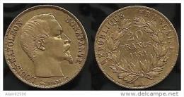 20 FRANCS OR . LOUIS NAPOLEON BONAPARTE . 1852 A . - L. 20 Francs
