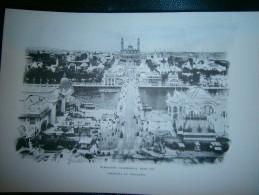PLANCHE  EXPOSITION UNIVERSELLE PARIS 1900  PANORAMA DU TROCADERO  DIM  21  X 31 CM - Estampes & Gravures