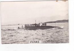 Batiment Militaire Marine Perou Sous Marin Ferre 1913 + Equipage Historique Au Dos - Boats