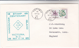 1965 VANCOUVER ISLAND Victoria  BC EVENT COVER CANADA Stamps Dogwood Flower Heraldic Lion Deer - 1952-.... Regno Di Elizabeth II