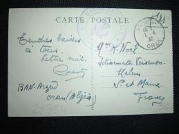 CP OBL.1-4-40 ARZEW ORAN + CACHET VIOLET: MARINE NATIONALE SERVICE A LA MER - WW II