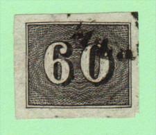 BRZ SC #24  1850 Numeral W/irregular Cut @ LR CNR, CV $3.00 - Brazil