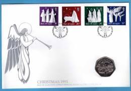ISLA DE MAN   *  Navidad / Weihnachten / Christmas 1991 * 50 Pence CARTA NUMISMATICA  - NUMISBRIEF - NUMIS / COIN LETTER - Monedas