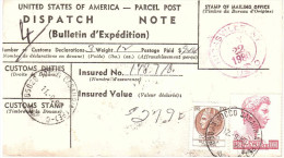 BOLLETTINO DI SPEDIZIONE DA U.S.A. ANN.TOCCO CASAURIA E ANN.ROSSO HICKSVILLE NY - Storia Postale