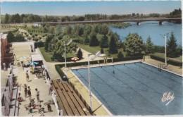 Belle-rive-sur-allier,la  Piscine Municipale,parasol,pont  Vers Moulins , Bourbon, Montlucon ,rare