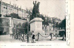 SUISSE GENEVE MONUMENT DU GENERAL DUFOUR CARTE PRECURSEUR CIRCULEE 1903 - GE Ginevra