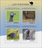 gu14412a Guinea 2014 Birds Guineafowls s/s