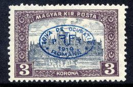 DEBRECEN 1919 3 Kr Parliament With Blue Overprint Mint Hinged / *.  Michel 31b - Debreczen