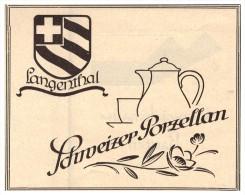 Original Werbung - 1927 - Schweizer Porzellan , Langenthal !!! - Langenthal (DEU)