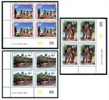 POLYNESIE 1993 - Yv. 440 à 442 ** TB Bloc De 4 Coin Daté  Cote= 12,25 EUR - Journée Du Tourisme (3 Val.) ..Réf.POL22089 - Nuovi