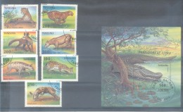 TANZANIA AÑO 1996 ANIMAUX SAUVAGES MULTICOLORES COMPLETE SET YVERT 1913-1919 ET BLOC 281 CROCODILE  OBLITERES TBE