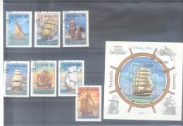 TANZANIA AÑO 1994 BARCOS SAILBOATS COMPLETE SET YVERT 1499-1505 PLUS BLOC 229 OBLITERES TBE