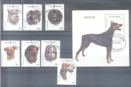 TANZANIA AÑO 1994 DOGS PERROS CHIENS COMPLETE SET YVERT NRS. 1421-1427 ET BLOC 218 OBLITERES TBE AÑO 1993