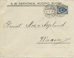 FINLANDE ADMINISTRATION RUSSE - 1910 - ENVELOPPE De KUOPIO Avec OBLITERATION KPXP N°10 AMBULANT ? - Storia Postale