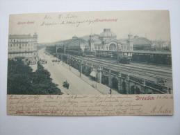 DRESDEN , Bahnhof , Schöne Karte  1901,  2 Scans - Dresden