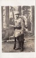 Photocarte Allemande-Soldat Allemand Paquetage Fusil Baïonnette 1916(guerre14-18)2scans - War 1914-18