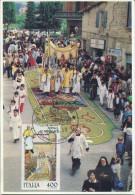 ITALIA - FDC MAXIMUM CARD 1989 - FOLCLORE - INFIORATA DI SPELLO - Cartoline Maximum