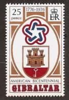 GIBRALTAR 1976 - Bicentennial INDEPENDENCE USA - 1v Mi 337 MNH ** Cv€1,00 R194 - Gibraltar