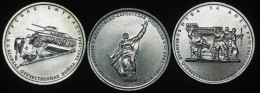 RUSSIA   5 Rubles 2014 70 Years Of Victory, 2 St Edition, 3 Coins UNC - Russia