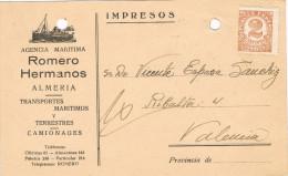11379. Tarjeta Privada Impresos ALMERIA 1937. Agencia Maritima ROMERO - 1931-Aujourd'hui: II. République - ....Juan Carlos I