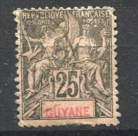 FRANCE  COLONIES  ( GUYANE  )  :    Y&T  N°  37  TIMBRE  AVEC  BELLE  OBLITERATION , A  VOIR  . - Französisch-Guayana (1886-1949)