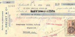 Lettre Change 4/6/1935 DREVET Pates Alimentaires ANDANCETTE Drome  Pour Gourdon Lot Timbre Fiscal - Lettres De Change
