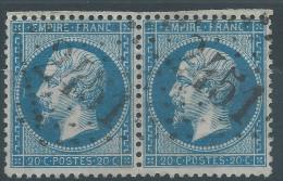Lot N°27483  Variété/Paire Du N°22, Oblit GC 2451 MONTEREAU (73), Trait Blanc Face Au Nez 1é Timbre - 1862 Napoleone III