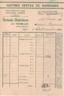 Facture  (1946) -  Etablissements Océanic- Huitrières - Huitre Verte De Marenne - LA TREMBLADE - France