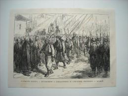 GRAVURE 1877. EVENEMENTS D'ORIENT.......... DEBARQUEMENT A CONSTANTINOPLE DE L'INFANTERIE IRREGULIERE......... - Prints & Engravings
