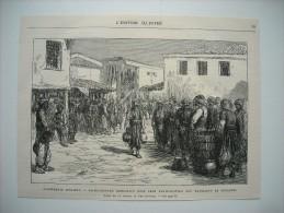 GRAVURE 1877. EVENEMENTS D'ORIENT. BACHI-B OZOUKS CONDAMNES POUR PARTICIPATION AUX MASSACRES DE BULGARIE. PHILIPPOPOLI.. - Prints & Engravings