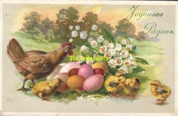 CPA DESSIN PAQUES POUSSIN EN RELIEF  **ARTIST DRAWN CARD EASTER CHICKS EMBOSSED - Pâques
