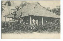 Congo Cabane Avec Personnages + Timbre 10 Centime Ecrite 1909 - Kongo - Brazzaville
