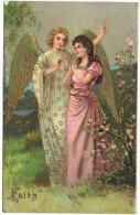 """""""Faith"""" - Angel -  Gold Wings - Embossed & Gilded Robes, - Giesen Brothers & Co 1906 - Angels"""