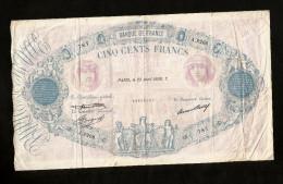 """FRANCE - BANQUE De FRANCE - 500 FRANCS """"BLEU ET ROSE"""" (PARIS 23 AVRIL 1936 T) - 1871-1952 Antichi Franchi Circolanti Nel XX Secolo"""