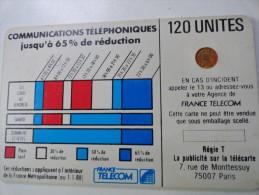 RARE : CORDONS BLANC TÉLÉCARTE 120U SC4OB LETTRE C SUR PLAGE HORAIRE ET COULEUR DES 65% NR 9212 - France