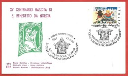 BUSTA NV ANNULLO SPECIALE - 1980 - 15° CENT. S. BENEDETTO PATRONO D'EUROPA - NORCIA (PG) 22 - 03 - 1980 - 1946-.. Republiek