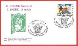 BUSTA NV ANNULLO SPECIALE - 1980 - 15° CENT. S. BENEDETTO PATRONO D'EUROPA - NORCIA (PG) 22 - 03 - 1980 - 6. 1946-.. República