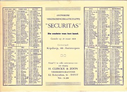 BUVARD - KALENDER 1960 - VLOEIBLAD-SECURITAS - ANTWERPEN - Verzekeringsmaatschappij - Calendriers