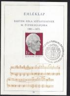 HUNGARY - 1971. Souvenir Card - Composer Béla Bartok Michel : 2659. - Cartes-maximum (CM)