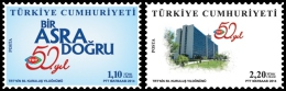 2014 Turkey - 50 Years Of Turkish Radio And Television - Set Of 2 V - Paper - MNH** - Nuevos