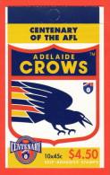 AUS SC #1512a MNH BKLT (w/Pane/10)  1996 Australian Football League (Adelaide Crows) CV $14.00 - Mint Stamps