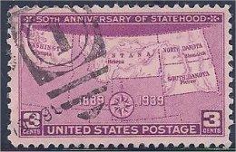 USA / États-Unis  1939  #  858   ( 50th  Anniversary Of Statehood ) - United States