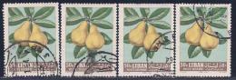 Lebanon, Scott # C364 Used Pears, 4 Copies, 1962 - Lebanon