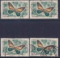 Lebanon, Scott # C435 Used Butterfly, 4 Copies, 1965 - Liban