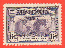 AUS SC #C3  1931 Plane Over Globes W/nice Centering, CV $14.00 - Used Stamps